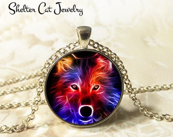 "Wolf in Fractals Necklace - 1-1/4"" Circle Pendant or Key Ring - Handmade Wearable Photo Art Jewelry - Nature Art, Wildlife, Animal Gift"
