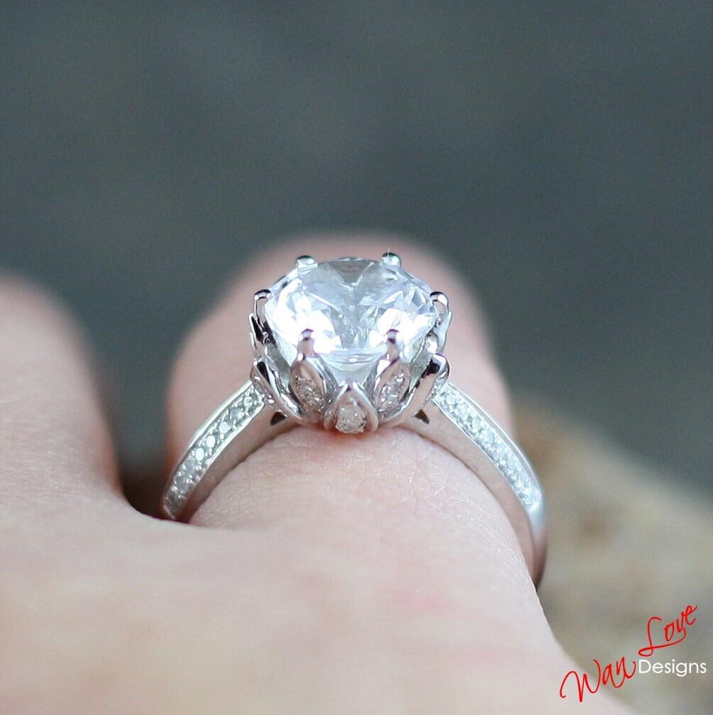 Forever one moissanite diamond lotus flower engagement ring zoom izmirmasajfo