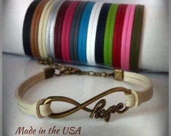 Infinity Hope bracelet Infinity bracelet Hope bracelet Inspirational jewelry Leather bracelet Friendship bracelet Charm bracelet