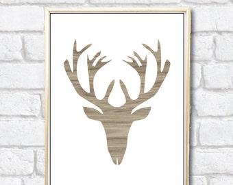 Rustic Deer Head Digital Art wood design in 8x10 and 5x7 print from home