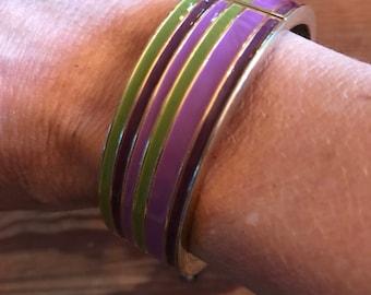Enamel and metal hinged bangle bracelet