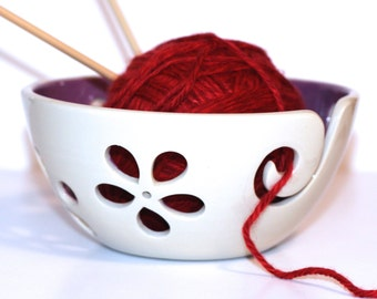 Purple flower Yarn Bowl / Knitting Bowl / Crochet Bowl / Purple Yarn Bowl / White Yarn Bowl / 6 inch Yarn Bowl / Made to Order