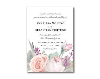 Printable Floral Wedding Invitation Set - Light Florals on Crisp White