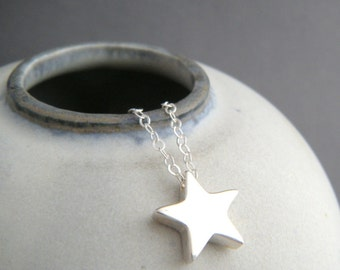 """small star necklace. sterling silver bead tiny celestial dainty jewelry simple summer choker charm delicate everyday pendant. gift 1/2"""""""