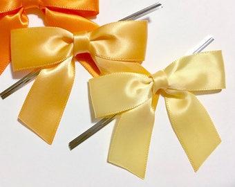 12 Golden Yellow - Light Gold or Buttercream - Pre-made Bow Embellishments
