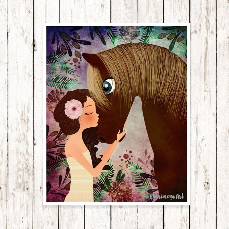 Horse artwork girl and horse print baby girl nursery decor zoom negle Images