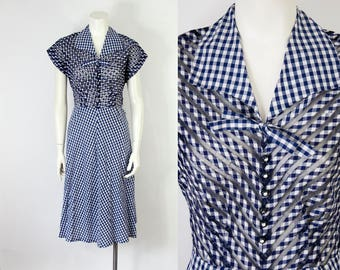 40s Vintage Blue Gingham Cotton and Mesh Midi Day Dress (M)