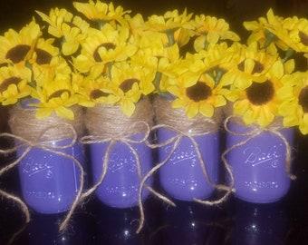 Set of 4 painted mason jars
