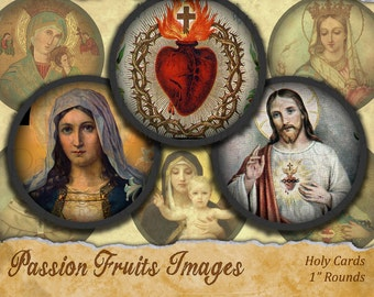 Vintage Holy Images 1 inch rounds Digital Collage Sheet-- Instant Download