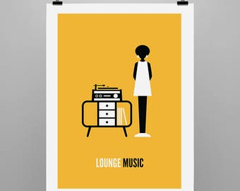 Lounge Music - Graphic Illustration Print