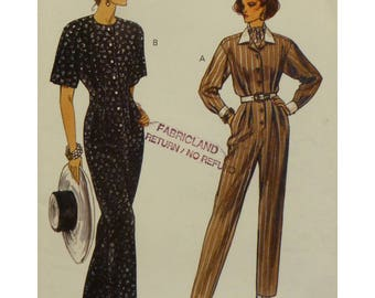 Shirt Style Jumpsuit Pattern, Button Front, Front Pleats, Long/Short Sleeves, Belted,  Pointed Collar, Vogue No. 8642 UNCUT Size 14 16 18
