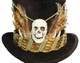 Tall Brown Top Hat Witch Doctor Voodoo Skull Gothic Steampunk Victorian Gentleman Mens