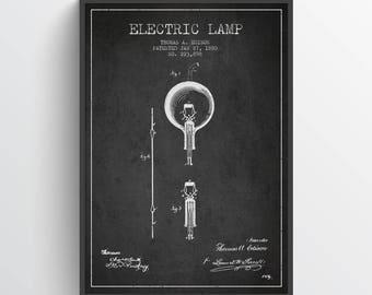 1880 Thomas Edison Electric Lamp Patent Poster, Patent Art Print, Patent Print, Blueprint, Wall Art, Home Decor, Gift Idea, FITE03P