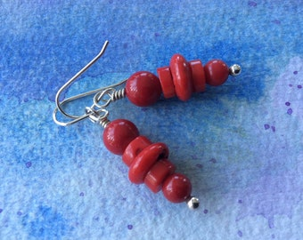 FREE SHIPPING Red Coral Sterling Silver Dangle Earrings
