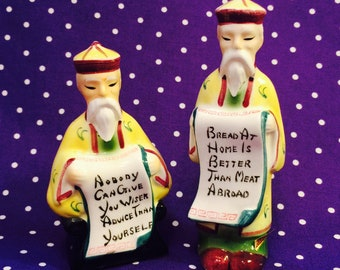 Japanese Wiseman with Scrolls Salt and Pepper Shakers made in Japan circa 1950s