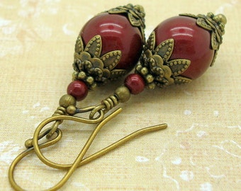 Earrings Handmade in the Victorian Jewelry style with Wine Red Swarovski Pearls