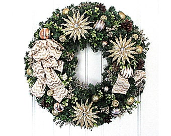 Christmas Wreath - Gold and Ivory Christmas Wreath - Holiday Wreath - Artificial Pine Wreath - Ready to Ship Wreath