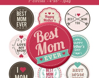 Mother's Day Sayings Bottle Cap Images 1 Inch Circles Digital JPG - Instant Download - BC1047