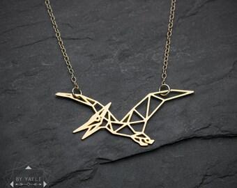 Dinosaure collier dinosaure collier géométrique origami dragon collier minimaliste bijoux cadeau pour déclaration de collier minimaliste pour femme