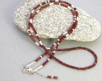 26 inch garnet and sterling silver faceted gemstone necklace, long garnet necklace with sterling accents