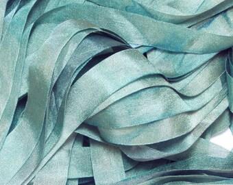 Pale Celadon Green Hand Dyed Silk Ribbon