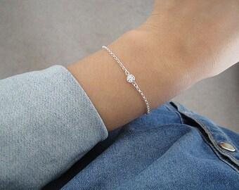 Sterling Silver Tiny CZ Bracelet, Tiny Cubic Zirconia Bracelet, Sterling Silver Chain Bracelet, Silver Layering Bracelet, Tiny CZ Bracelet
