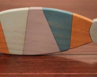 Wooden Fish Wall Art - Nautical striped Pallet Fish