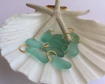 Sea green sea glass charm bead, beach glass charm ,charm bracelet ,add a charm ,Seaglass jewelry ,beach glass jewelry , glass charm