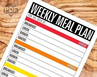 NEW! Weekly Meal Plan printable PDF file (instant download) The Grocery List companion