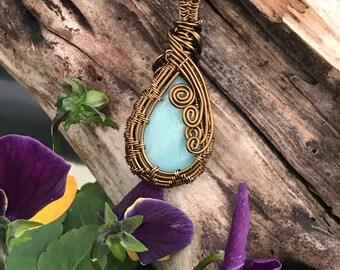 Amazonite Vintaj Brass Wire Wrap Pendant