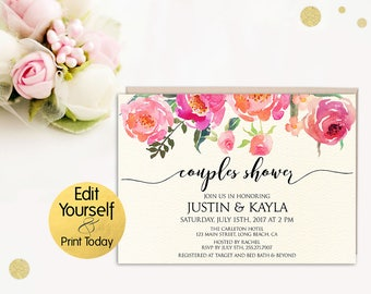 Couples Shower Invitation Template, Couples Wedding Shower Invite, DIY Couples Shower, Editable Couples Shower Invite, Couples Shower Invite