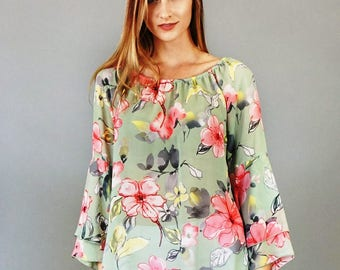 Style By Chris Loose Fitting Double Ruffle Sleeve Tunic Top