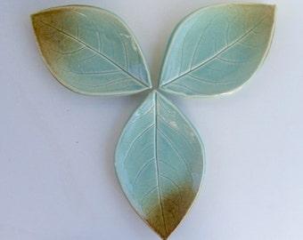 Set of Three, Ceramic Leaf Plates/Spoon Rest, Hand Built, Persimmon Leaf
