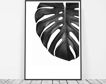 Scandinavian Print, Tropical Print, Tropical Leaf Print, Monstera Leaf Print, Botanical Decor, Affiche Scandinave, Black and White Print