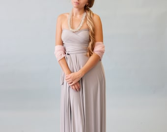 Last of Fabric~ Nantucket Fog Grey Satin Jersey- Infinity Convertible Wrap Maxi Dress-Long Gown, Bridesmaids, Wedding, Prom, Maternity