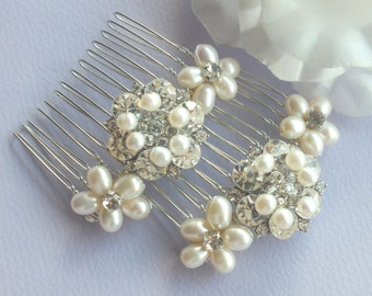Anne-Freshwater Pearl and Rhinestone Bridal Combs ( set of 2 )