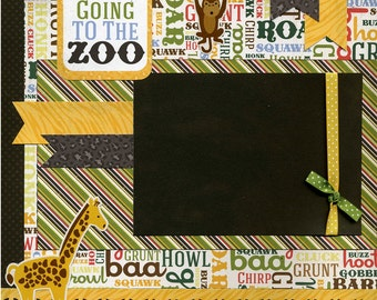 12x12 Premade Scrapbook Page - We're Going to the Zoo