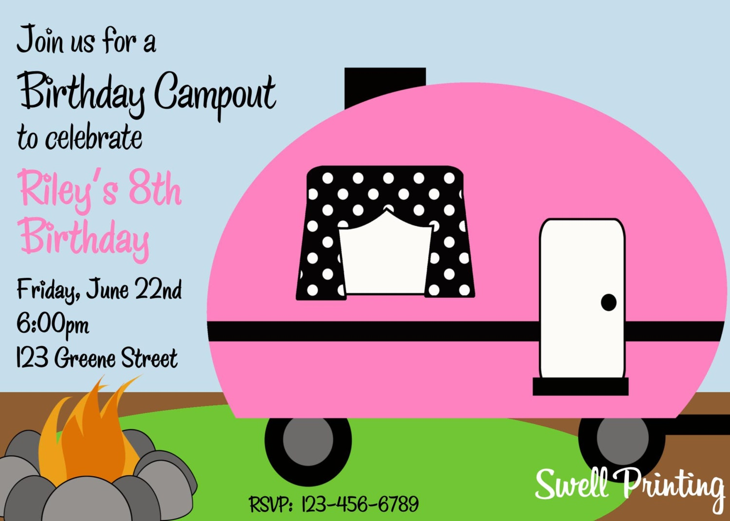 Camping Birthday Party Invitation Campout Birthday