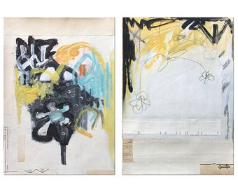 DIPTYCH Original COLLAGE PAINTING Abstract  Modern Contemporary Art Two Part Painting Yellow Black White Figrative Mixed Media Art #1507
