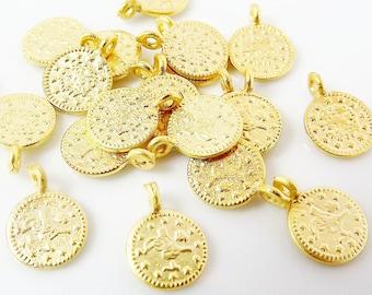 20 Mini Gold Coin Charms Turkish Jewelry Supplies Rustic Round Coins, Coin Pendant Boho Bohemian Style Craft 22k Matte Gold Plated