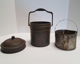 Vintage antique metal, tin, steel canister w/ lid and handle, interior strainer in bucket, Lunch box, machinist solvent dipping cleaning