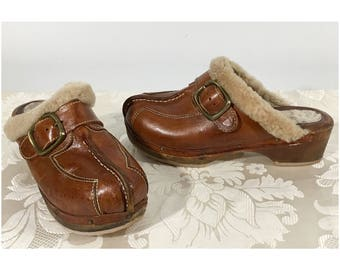 Brown leather shoes, Slip on shoes, Slide on shoes, Leather clogs, Women's size 6 shoes, Women's leather heels