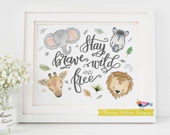 Safari Nursery Art, Nursery Wall Art, Nursery Decor, Safari Animals Wall Art, Gender Neutral Nursery, Baby Boy Nursery, Baby Girl Nursery