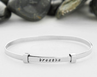 Just Breathe, Yoga Jewelry, Breathe, Yoga Bracelet, Breathe Jewelry, Stamped Bracelet, Just Breathe Jewelry, inspiration jewelry, B252SS