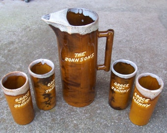 Rare Van Briggle - Colorado Springs, Colorado - Drip Glaze Pitcher & 4 Tumblers