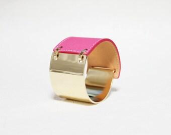 Gold Band Leather Bracelet(Pink)