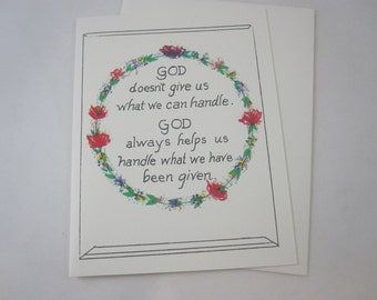 God Helps Us Handle Greeting Card - One Card with Envelope
