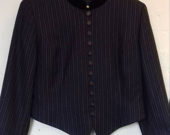1980's navy cropped jacket with spotty stripes and a velvet style collar by county casuals. (Size 14/16)