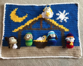 Crocheted Nativity Set and Blanket