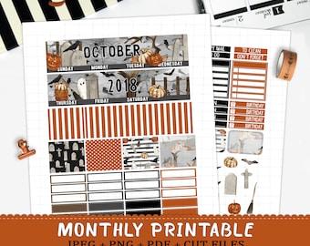 October 2018 Monthly printable planner stickers for Erin Condren LifePlannerTM halloween graveyard ghost monthly sticker kit cut files